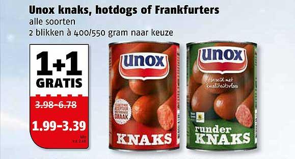 Poiesz Unox Knaks, Hotdogs Of Frankfurters 1+1 Gratis