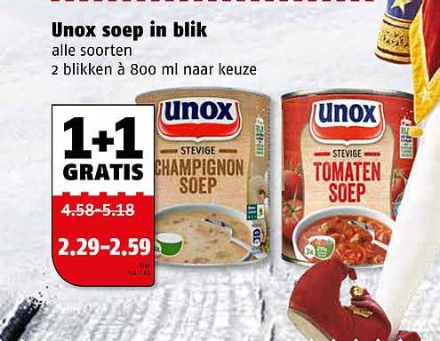 Poiesz Unox Soep In Blik 1+1 Gratis