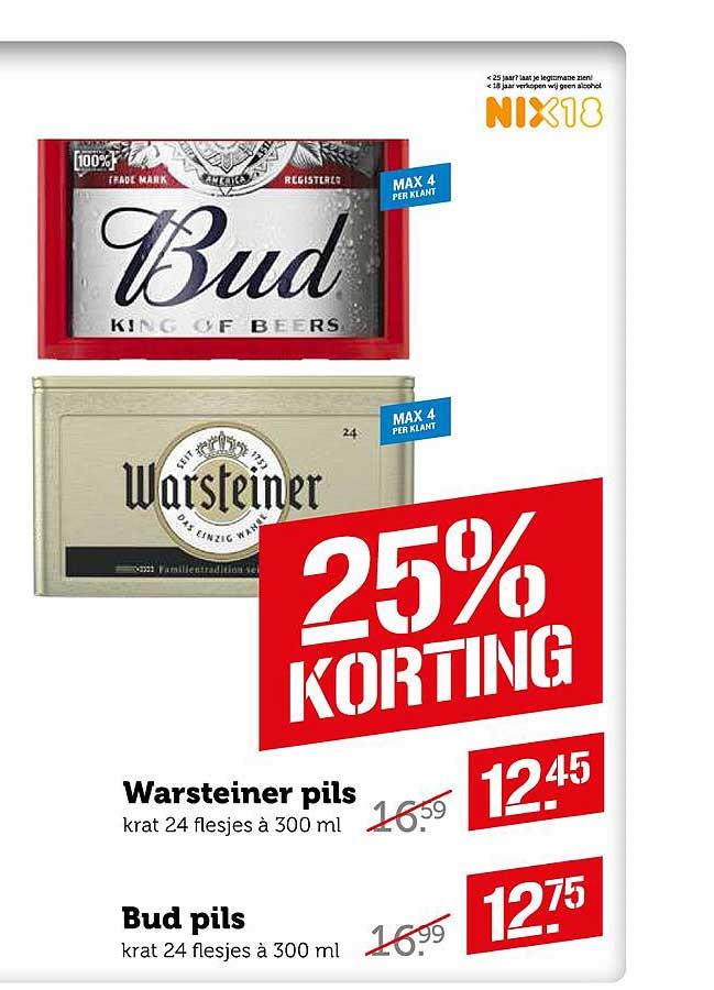 Coop Warsteiner Pils Of Bud Pils 25% Korting