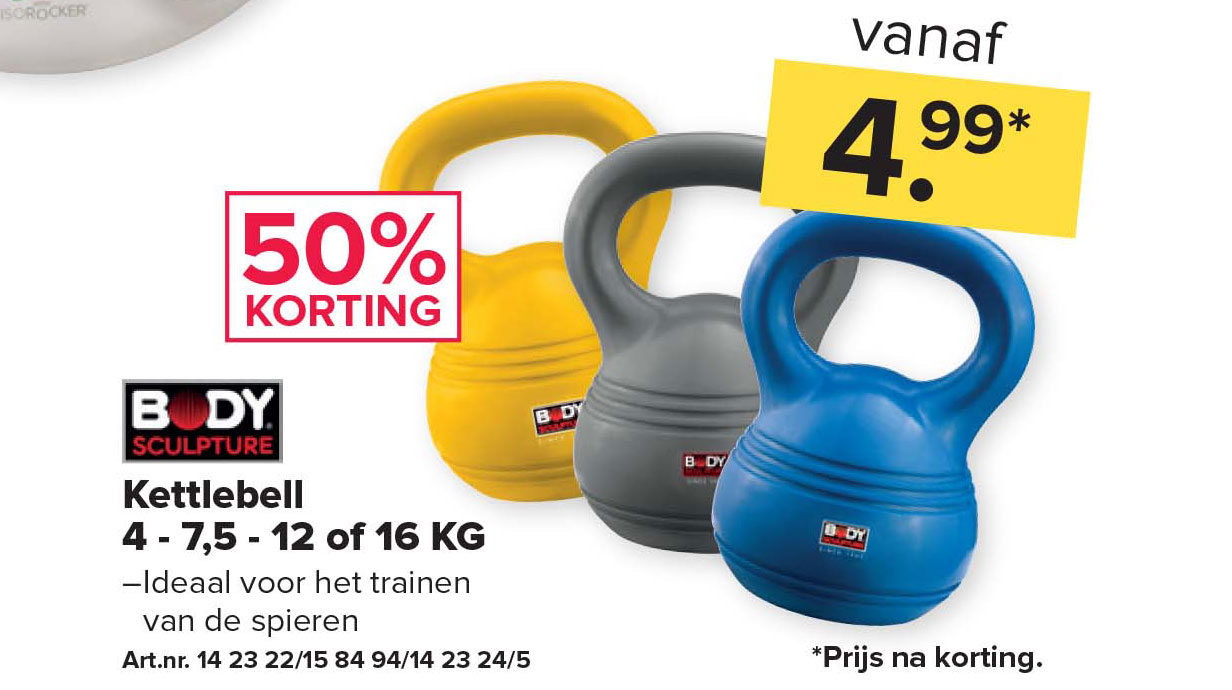 Kijkshop Body Sculpture Kettlebell 4 - 7,5 - 12 Of 16 KG