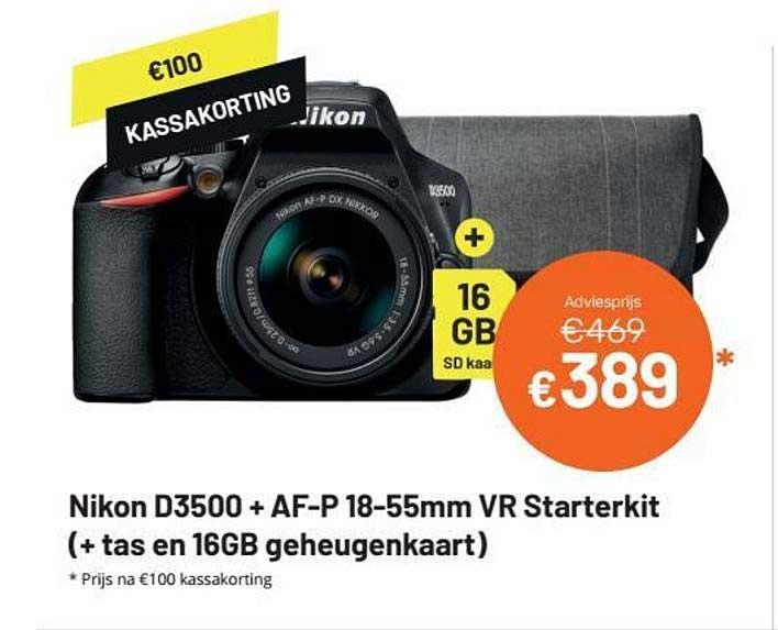 Kamera Express Nikon D3500 + AF-P 18-55mm VR Starterkit (+ Tas En 16GB Geheugenkaart)
