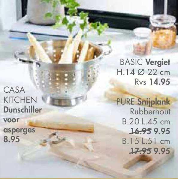 CASA Casa Kitchen Dunschiller Voor Asperges, Basic Vergiet Of Pure Snijplank