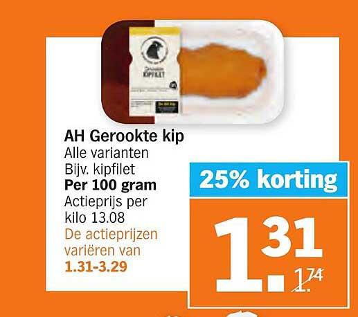 Albert Heijn AH Gerookte Kip 25% Korting