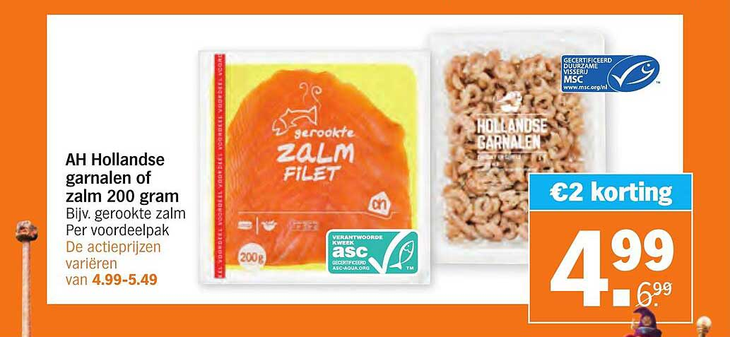 Albert Heijn AH Hollandse Garnalen Of Zalm 200 Gram €2 Korting