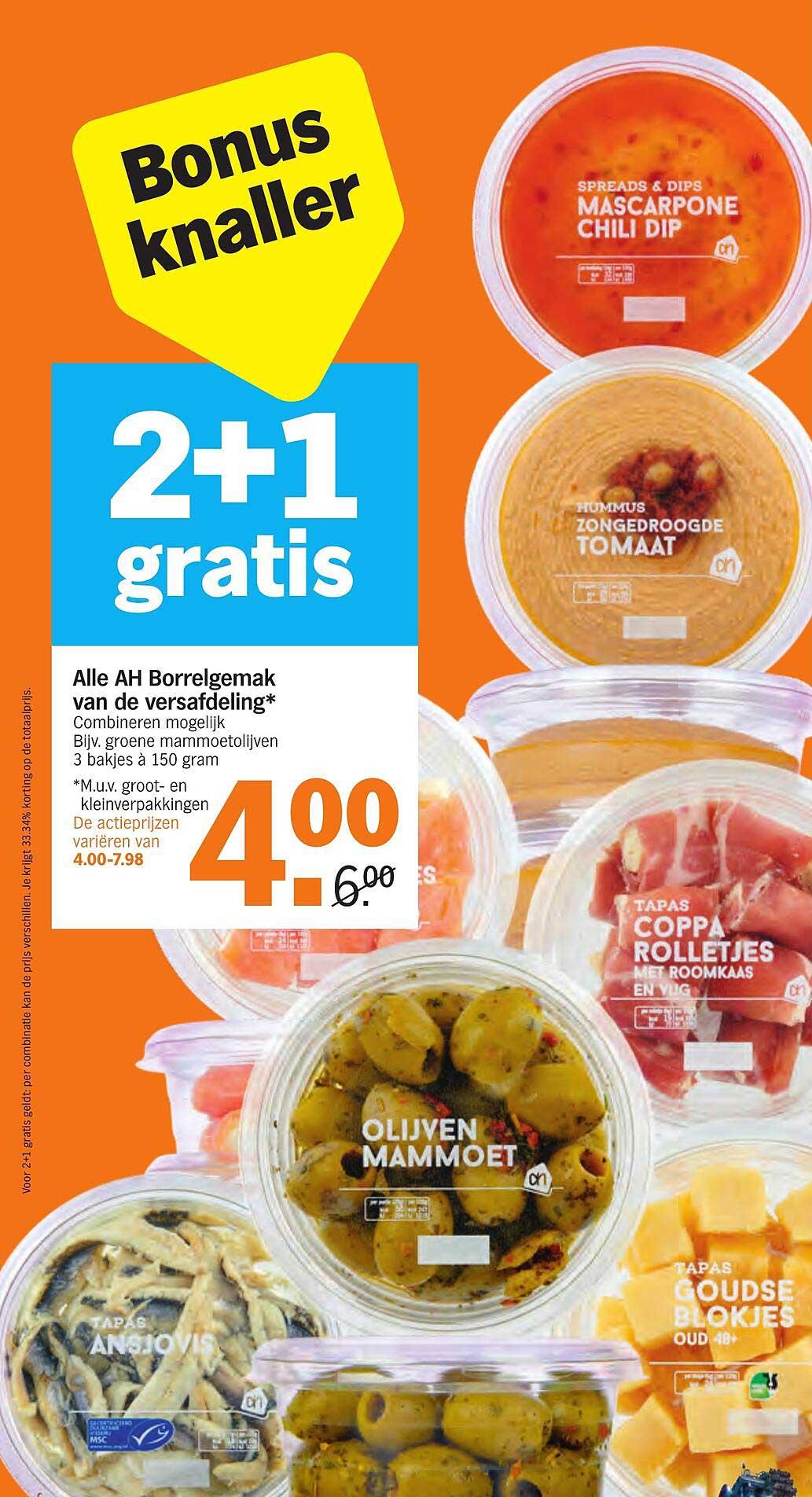 Albert Heijn Alle AH Borrelgemak Van De Versafdeling 2+1 Gratis