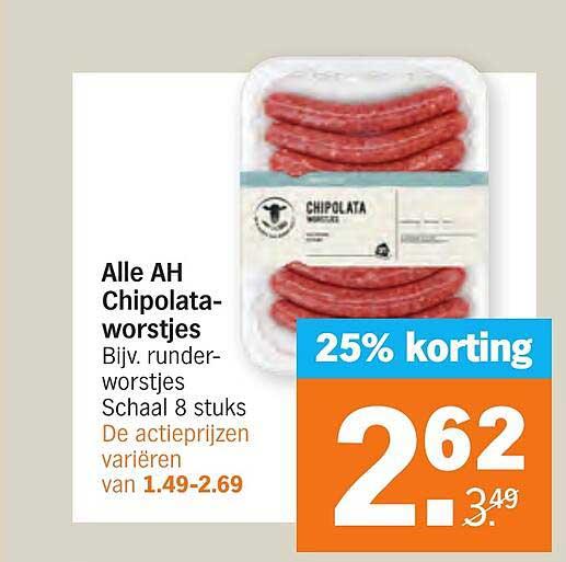 Albert Heijn Alle AH Chipolataworstjes 25% Korting