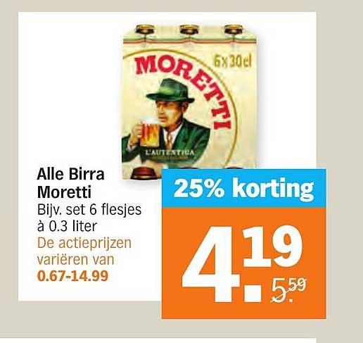 Albert Heijn Alle Birra Moretti 25% Korting