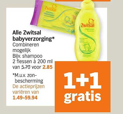 Albert Heijn Alle Zwitsal Babyverzorging 1+1 Gratis
