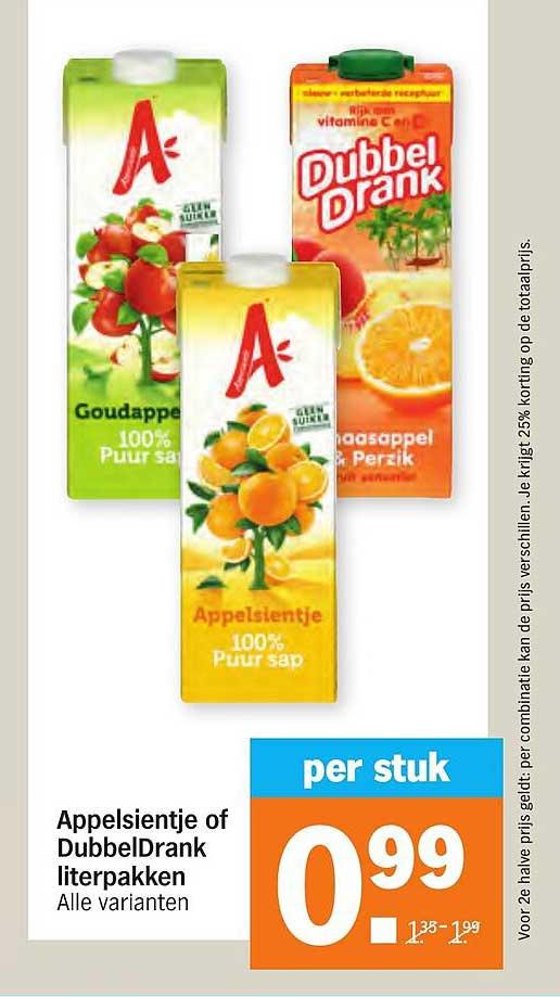 Albert Heijn Appelsientje Of DubbelDrank Literpakken