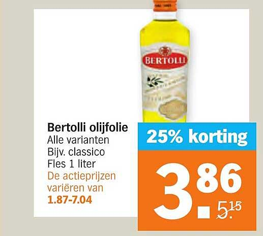 Albert Heijn Bertolli Olijfolie 25% Korting