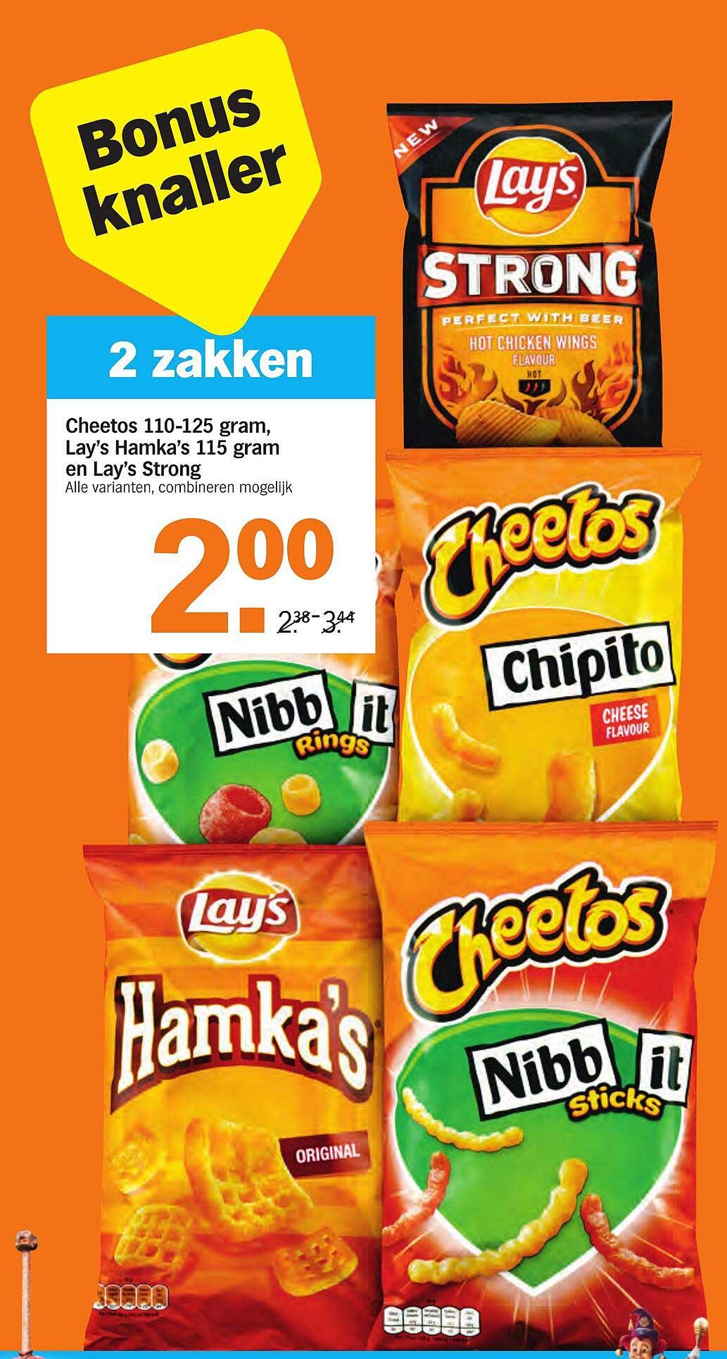 Albert Heijn Cheetos 110-125 Gram, Lay's Hamka's 115 Gram En Lay's Strong