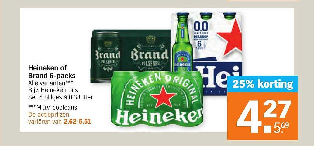 Albert Heijn Heineken Of Brand 6-Packs 25% Korting