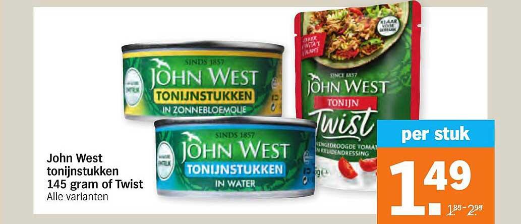 Albert Heijn John West Tonijnstukken 145 Gram Of Twist
