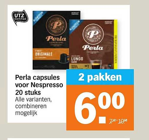 Albert Heijn Perla Capsules Voor Nespresso 20 Stuk