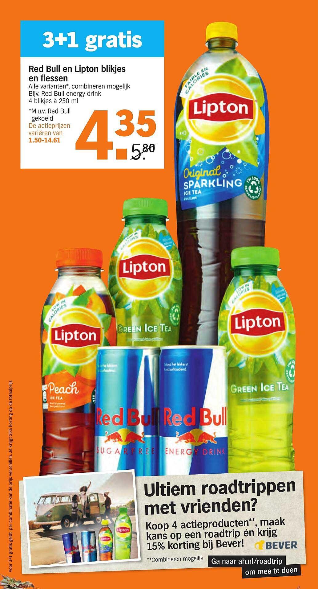 Albert Heijn Red Bull En Lipton Blikjes En Flessen 3+1 Gratis