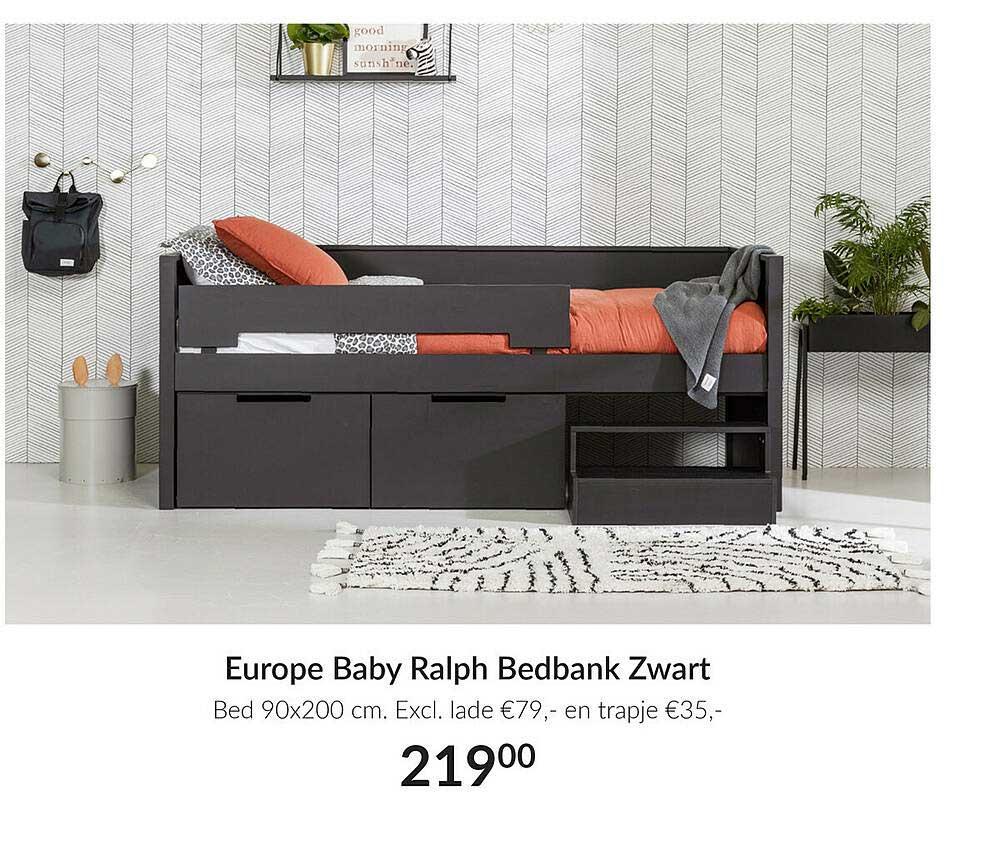 Babypark Europe Baby Ralph Bedbank Zwart Bed 90x200cm Excl. Lade En Trapje