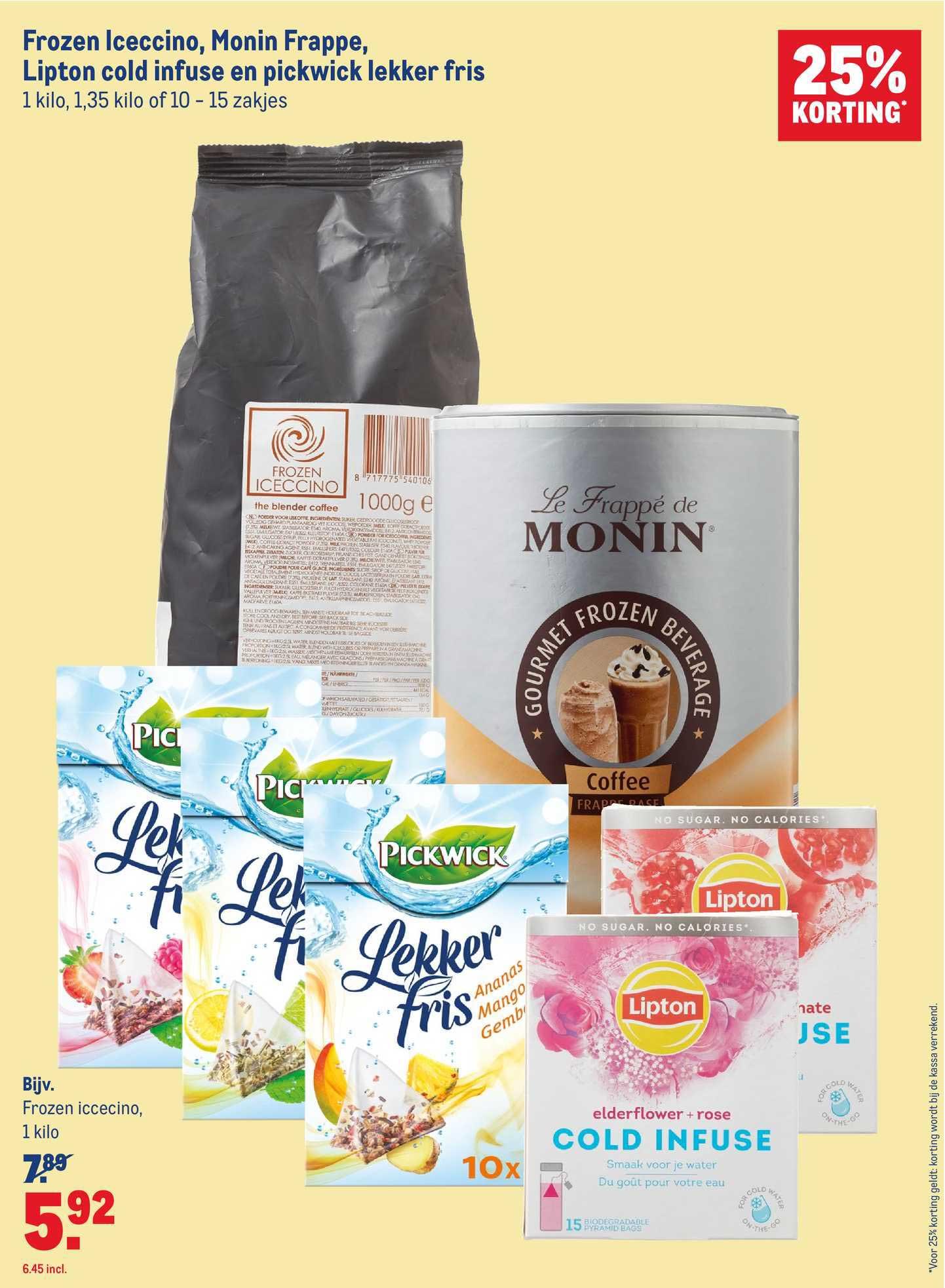 Makro Frozen Iceccino, Monin Frappe, Lipton Cold Infuse En Pickwick Lekker Fris 25% Korting