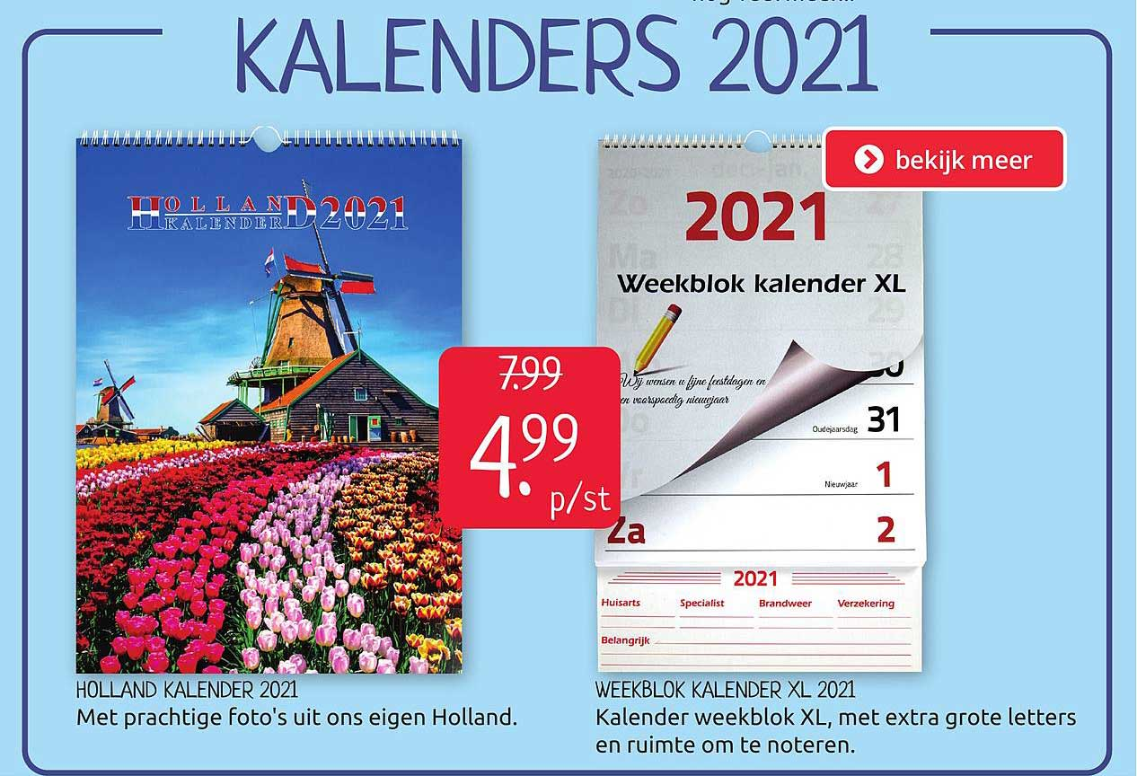 BoekenVoordeel Holland Kalender 2021 Of Weekblok Kalender XL 2021