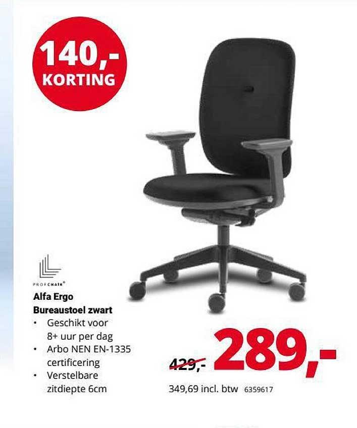 Office Centre Alfa Ergo Bureaustoel Zwart 140,- Korting