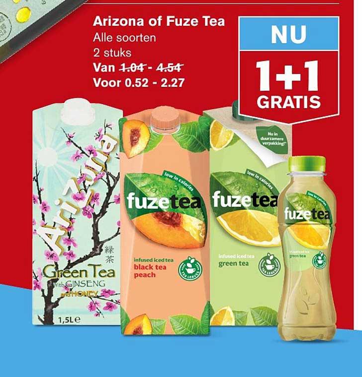 Hoogvliet Arizona Of Fuze Tea 1+1 Gratis