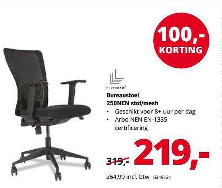 Office Centre Bureaustoel 250NEN Stof-Mesh 100,- Korting