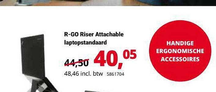 Office Centre R-Go Riser Attachable Laptopstandaard