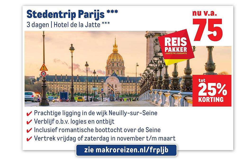 Makro Reizen Stedentrip Parijs Tot 25% Korting