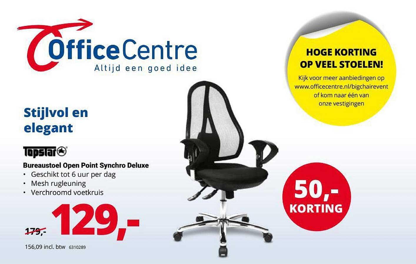 Office Centre Topstar Bureaustoel Open Point Synchro Deluxe 50,- Korting