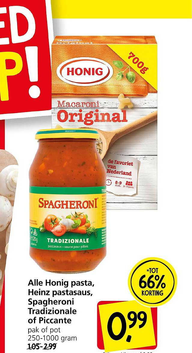 Jan Linders Alle Honig Pasta, Heinz Pastasaus, Spagheroni Tradizionale Of Piccante Tot 66% Korting