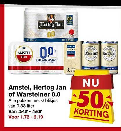 Hoogvliet Amstel, Hertog Jan Of Warsteiner 0.0 50% Korting