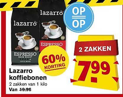Hoogvliet Lazarro Koffiebonen 60% Korting