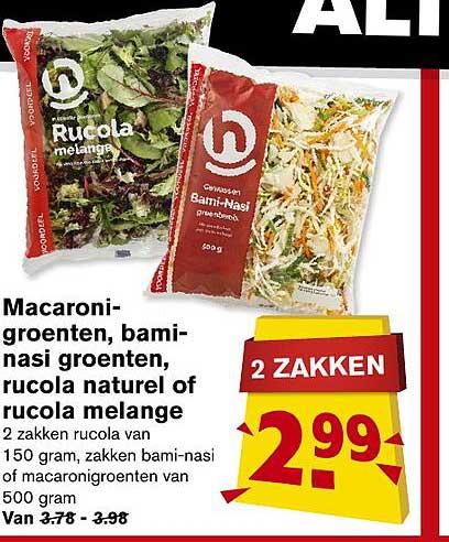 Hoogvliet Macaroni-Groenten, Bami-Nasi Groenten, Rucola Naturel Fo Rucola Melange