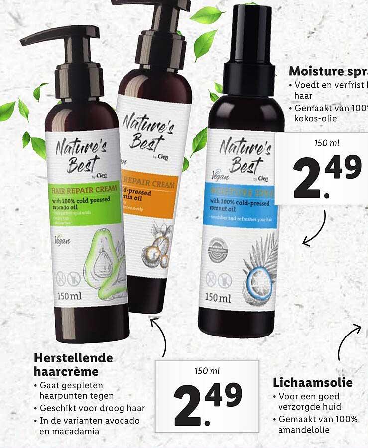 Lidl Nature's Best Herstellende Haarcrème, Moisture Spray Of Lichaamsolie