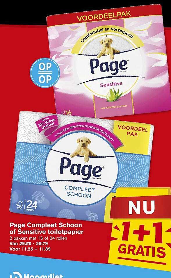 Hoogvliet Page Compleet Schoon Of Sensitive Toiletpapier 1+1 Gratis