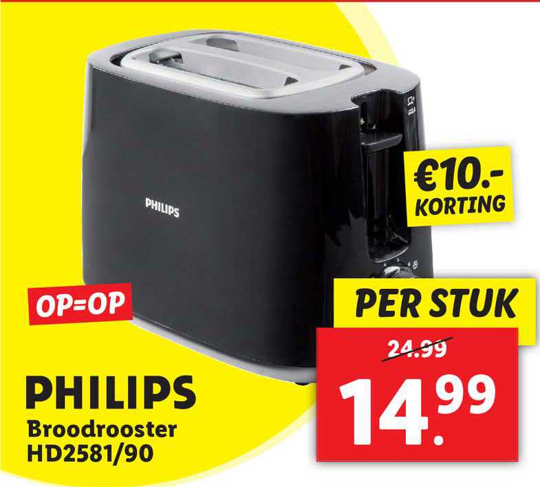 Lidl Philips Broodrooster HD2581-90 €10.- Korting