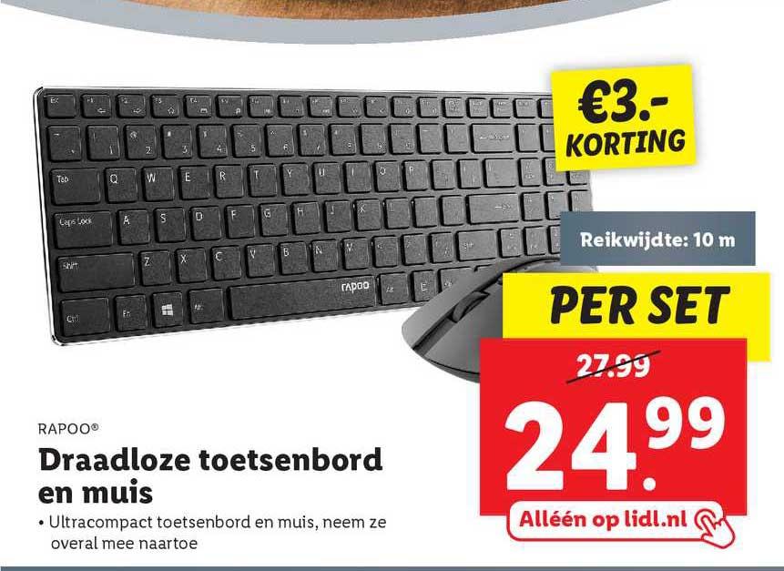Lidl Rapoo® Draadloze Toetsenbord En Muis €3.- Korting