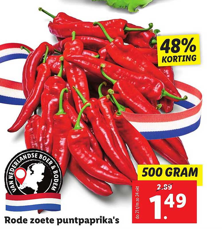 Lidl Rode Zoete Puntpaprika's 48% Korting
