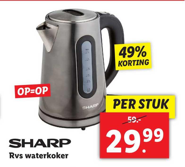Lidl Sharp RVS Waterkoker 49% Korting