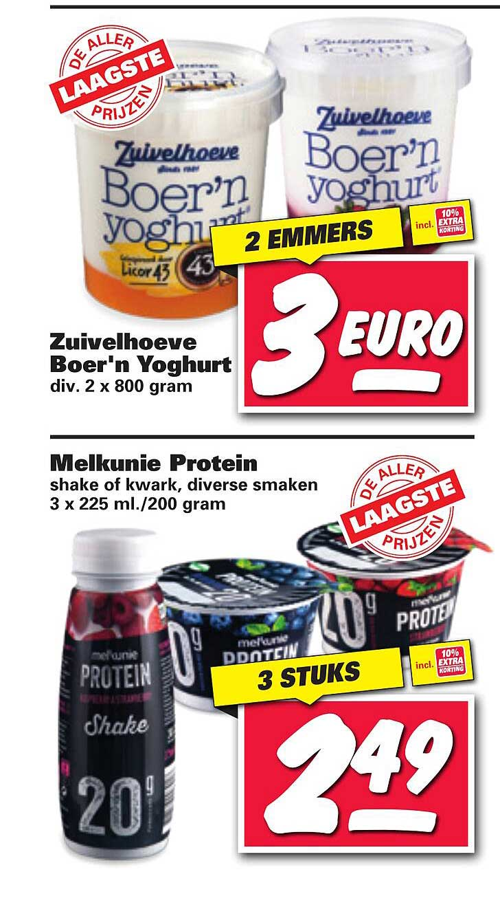 Nettorama Zuivelhoeve Boer'n Yoghurt Of Melkunie Protein Shake Of Kwark