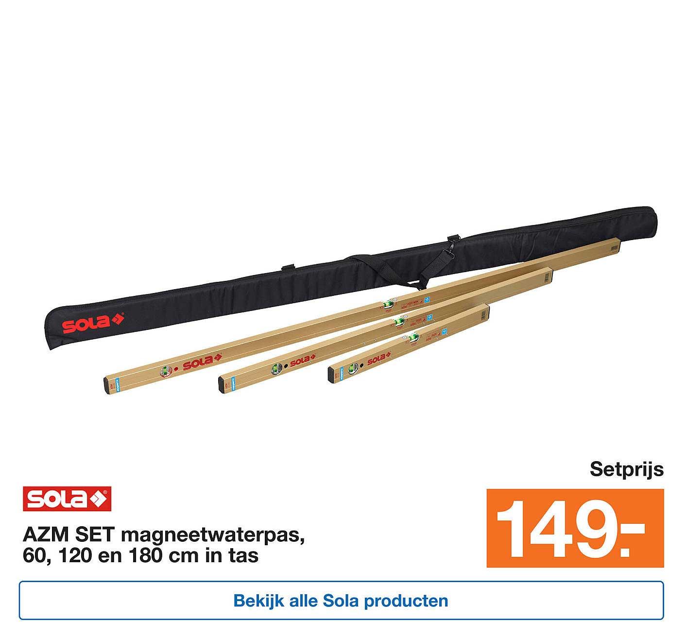 Bouwmaat Sola Azm Set Magneetwaterpas 60 120 En 180cm In Tas