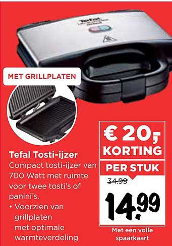 Vomar Tefal Tosti-Ijzer € 20.- Korting