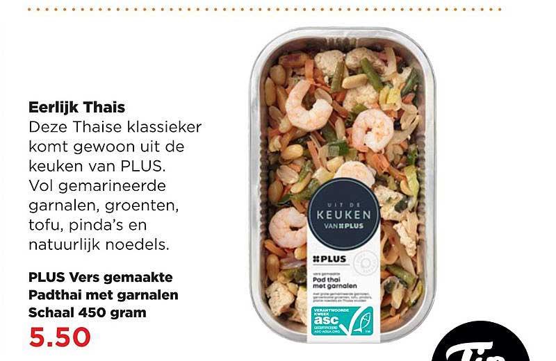 PLUS Plus Vers Gemaakte Padthai Met Garnalen Schaal 450 Gram