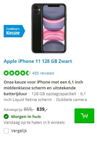 Coolblue Apple IPhone 11 128 GB Zwart