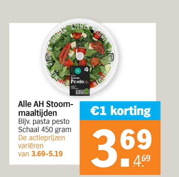 Albert Heijn Alle AH Stoommaaltijden €1 Korting