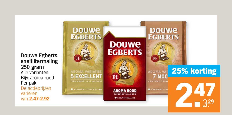 Albert Heijn Douwe Egberts Snelfiltermaling 250 Gram 25% Korting