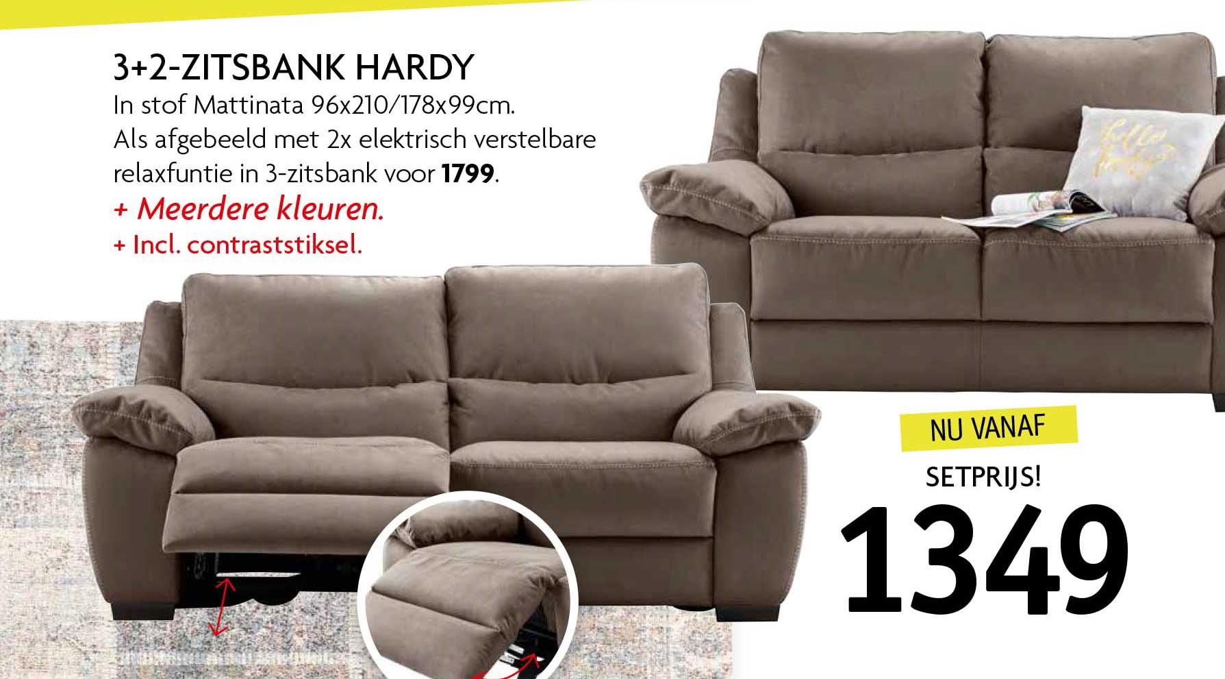 Profijt Meubel 3+2 Zitsbank Hardy