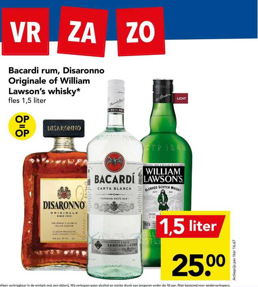 DEEN Bacardi Rum, Disaronno Originale Of William Lawson's Whisky