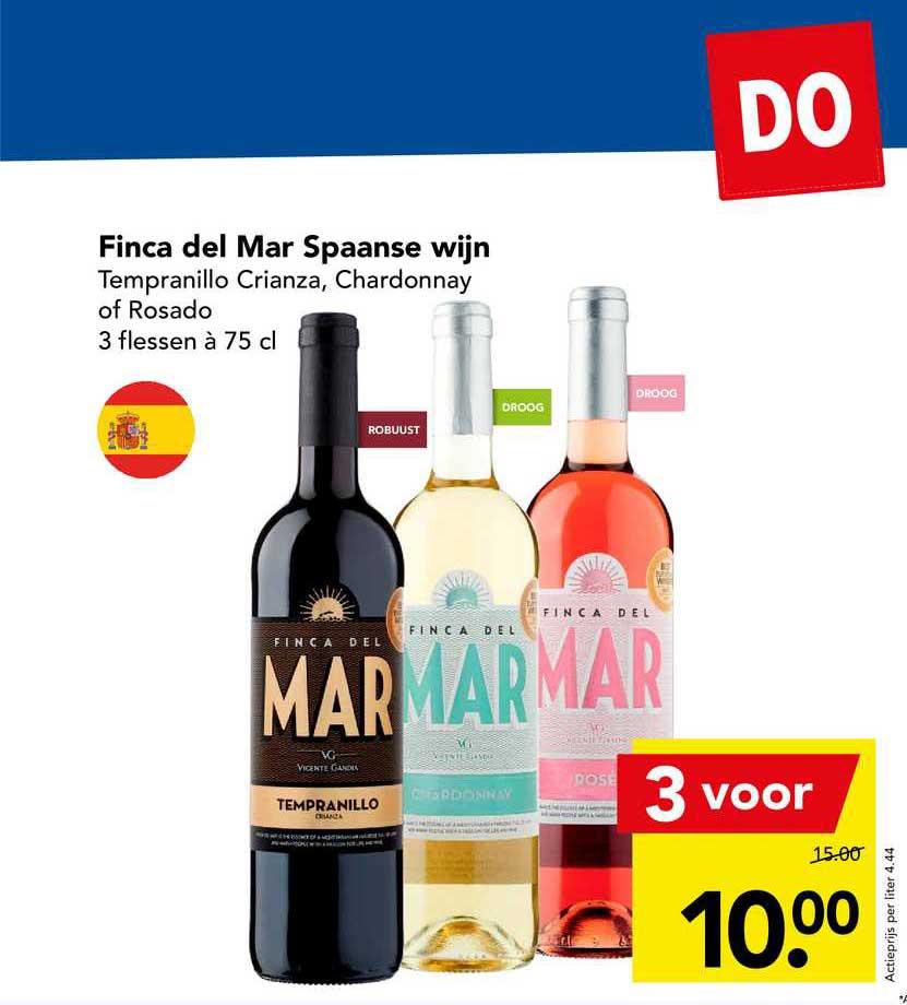 DEEN Finca Del Mar Spaanse Wijn Tempranillo Crianza, Chardonnay Of Rosado