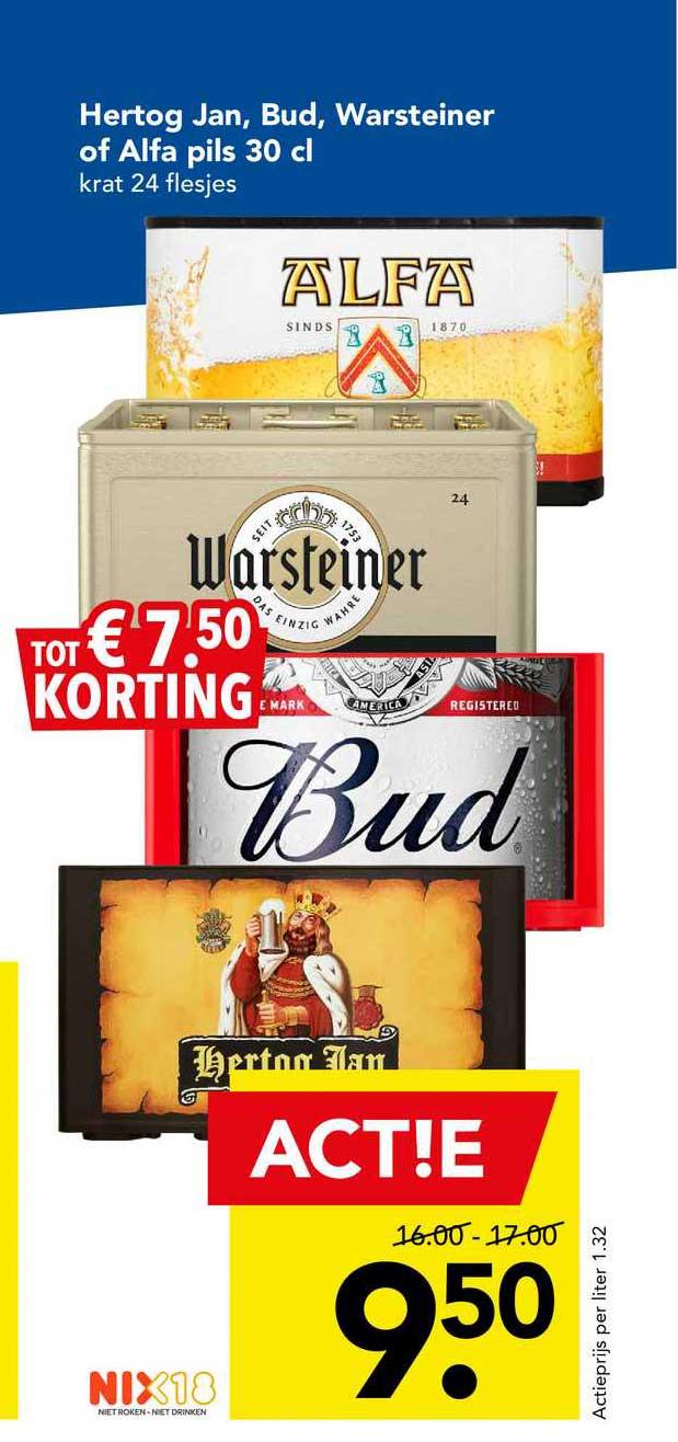 DEEN Hertog Jan, Bud, Warsteiner Of Alfa Pils 30 Cl