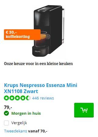 Coolblue Krups Nespresso Essenza Mini XN1108 Zwart: €30,- Koffiekorting